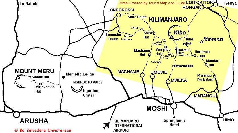 Kort over ruter på Kilimanjaro