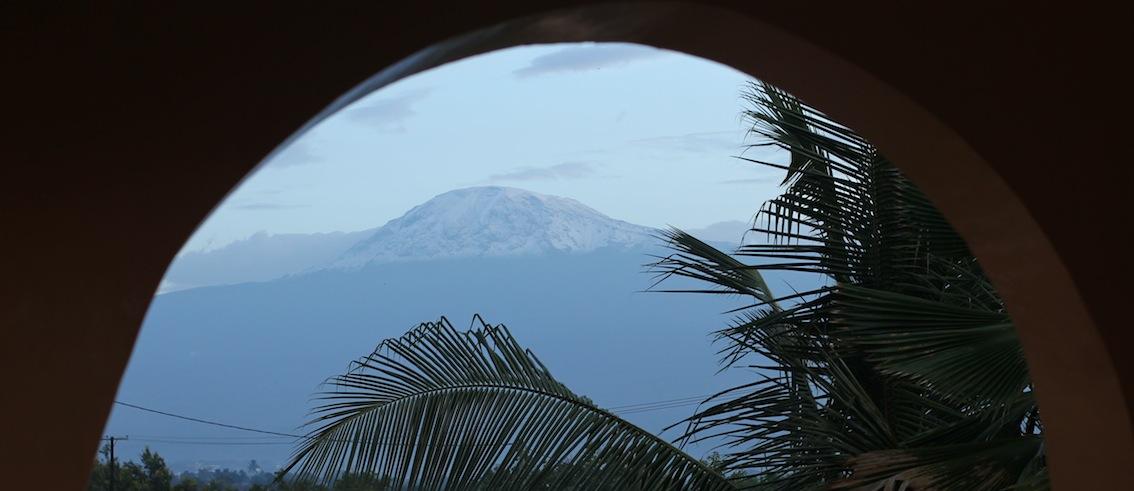 Udsigt fra Springlands hotel i Moshi mod Kilimanjaro